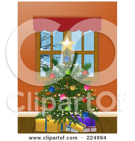 Royalty-Free (RF) Clipart Illustration of a Trimmed Christmas Tree With Presents By A Window by elaineitalia