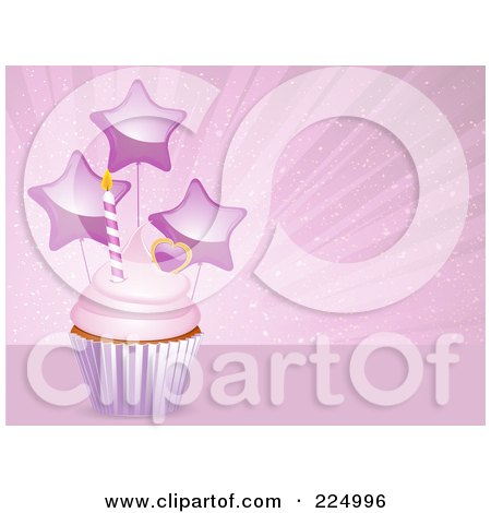 Royalty-Free (RF) Clipart Illustration of a Pink Frosted Cupcake With A Heart, Candle And Star Balloons Over Pink by elaineitalia