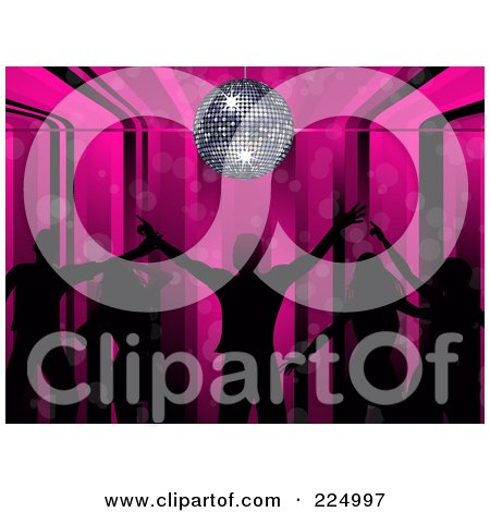 Royalty-Free (RF) Clipart Illustration of Silhouetted Dancers On A Pink Stripe And Disco Ball Background by elaineitalia