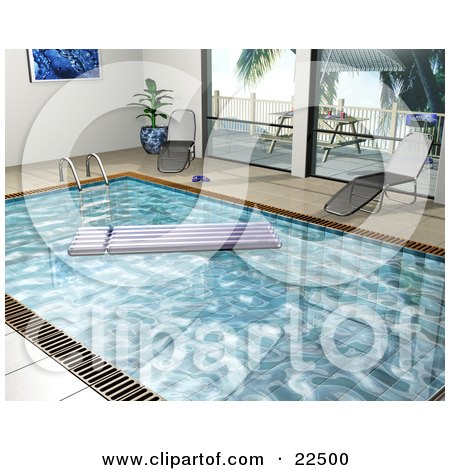 Clipart Illustration of a Floating Lounger In An Indoor Swimming Pool With Two Chaise Lounges By The Windows by KJ Pargeter
