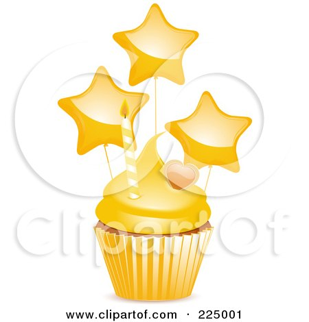 Royalty-Free (RF) Clipart Illustration of a Cupcake With Yellow Frosting, A Heart, Star Balloons And Candle by elaineitalia
