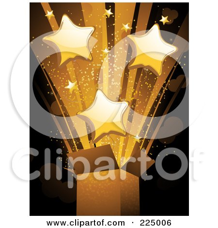 Royalty-Free (RF) Clipart Illustration of a Burst Of Golden Stars And Light Exploding From A Box by elaineitalia