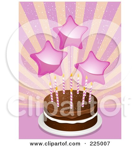 Royalty-Free (RF) Clipart Illustration of Pink Star Balloons Over A Chocolate Birthday Cake Over A Burst by elaineitalia