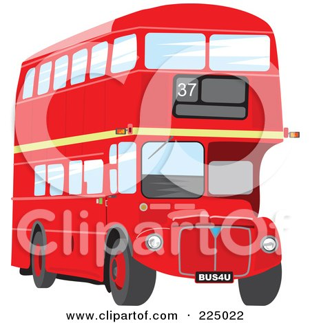 Royalty-Free (RF) Clipart Illustration of a Double Decker by Prawny
