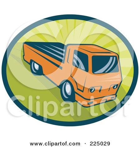 Royalty-Free (RF) Clipart Illustration of a Retro Orange Pickup Truck On Green Logo by patrimonio