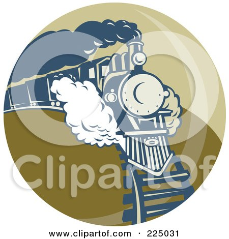 Royalty-Free (RF) Clipart Illustration of a Green Circle Steam Train Logo by patrimonio