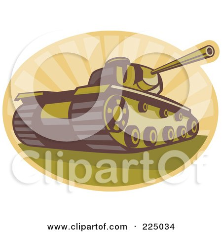 Royalty-Free (RF) Clipart Illustration of a Retro Military Tank And Rays Logo by patrimonio