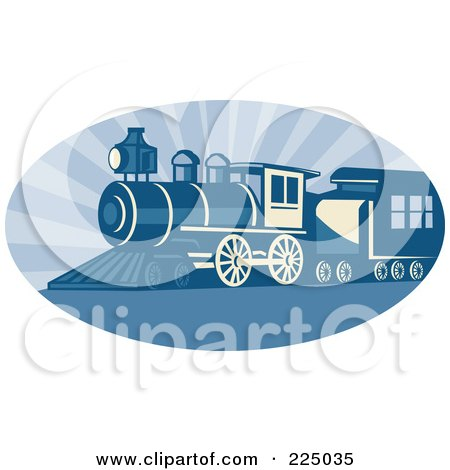 Royalty-Free (RF) Clipart Illustration of a Blue Oval Steam Train Logo by patrimonio