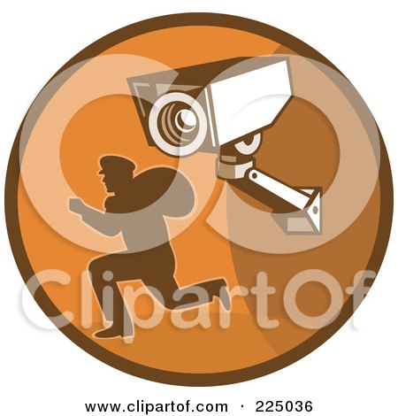 Royalty-Free (RF) Clipart Illustration of a Retro Styled Robber And Video Surveillance Logo by patrimonio