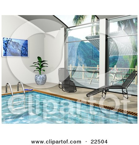Clipart Illustration of a Potted Plant, Art Print And Chaise Lounges Poolside By Big Windows Near An Indoor Swimming Pool by KJ Pargeter