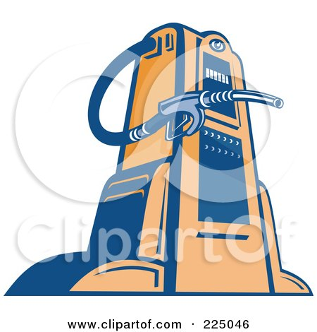 Royalty-Free (RF) Clipart Illustration of a Retro Blue And Orange Gas Pump by patrimonio