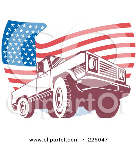 Royalty-Free (RF) Clipart Illustration of a Pick Up Truck And Wavy American Flag Logo by patrimonio