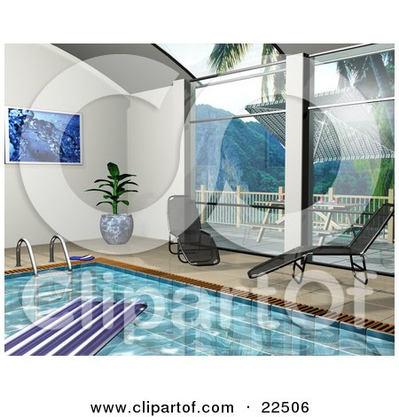 Clipart Illustration of Two Chaise Lounges By Big Windows Beside An Indoor Swimming Pool With A Float On The Water by KJ Pargeter