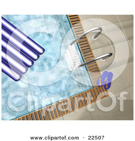 Clipart Illustration of a Pool Ladder, Blue Flip Flops And A Float In And At The Edge Of A Swimming Pool by KJ Pargeter