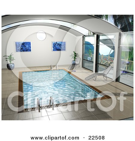 Clipart Illustration of Art Prints, Potted Plants, And Chaise Lounges Poolside By An Indoor Swimming Pool by KJ Pargeter