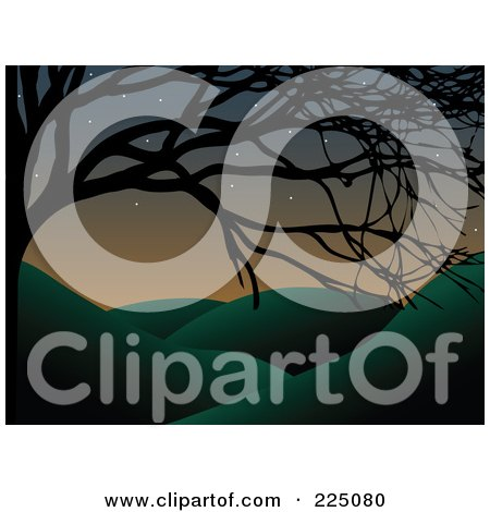 Royalty-Free (RF) Clipart Illustration of a Silhouetted Bare Tree Framing A Hilly Landscape At Dusk by mheld