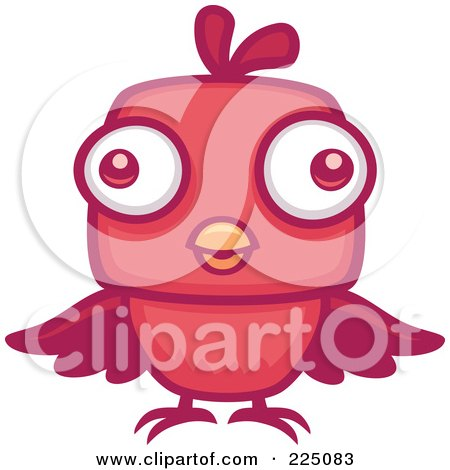Royalty-Free (RF) Clipart Illustration of a Red Bird With Big Eyes by John Schwegel