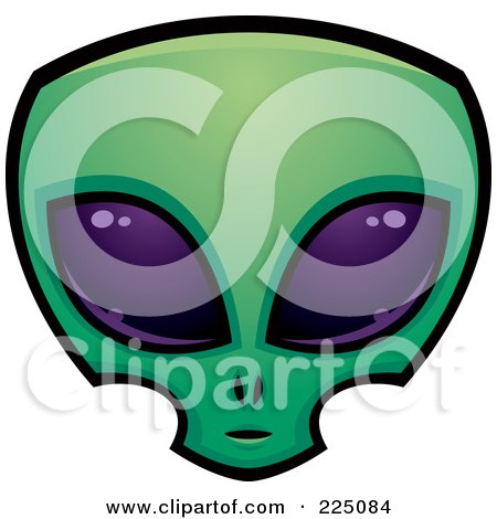 Royalty-Free (RF) Clipart Illustration of a Green Alien Face With Big Purple Eyes by John Schwegel