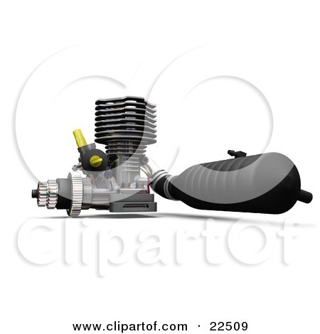 Clipart Illustration of a Black, Chrome And Yellow Car Engine Over White by KJ Pargeter
