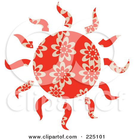 Royalty-Free (RF) Clipart Illustration of a Red Patterned Sun by Prawny