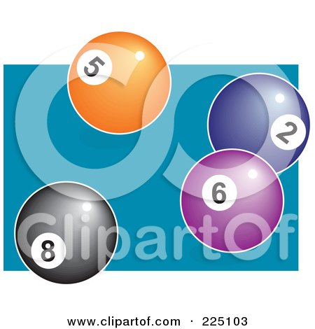 Royalty-Free (RF) Clipart Illustration of an Eightball With Orange, Blue And Purple Balls On A Pool Table by Prawny
