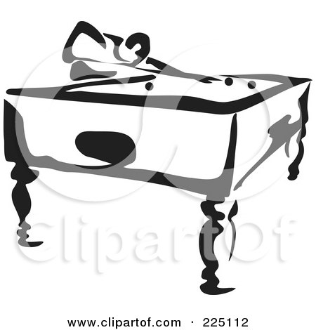 Royalty-Free (RF) Clipart Illustration of a Black And White Thick Line Drawing Of A Man Playing Pool by Prawny