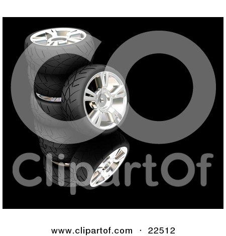 Clipart Illustration of a Rubber Car Tyre Leaning Against A Stack Of Three Others, Reflecting Over Black by KJ Pargeter