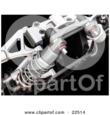 Closeup Of Red And Chrome Suspension Car Parts And Springs Over Black Posters, Art Prints