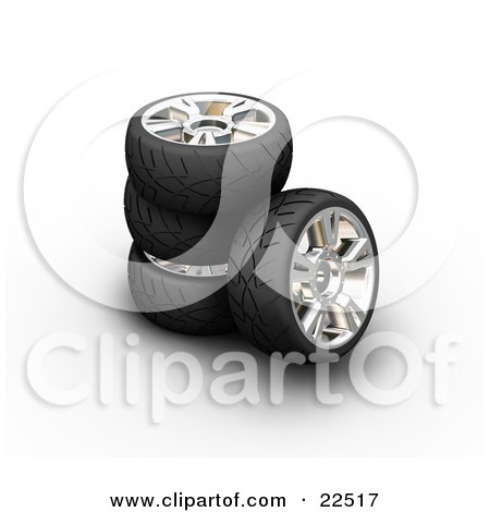 Clipart Illustration of a Stack Of Rubber Car Tires, One Leaning Against The Stack, Over White by KJ Pargeter