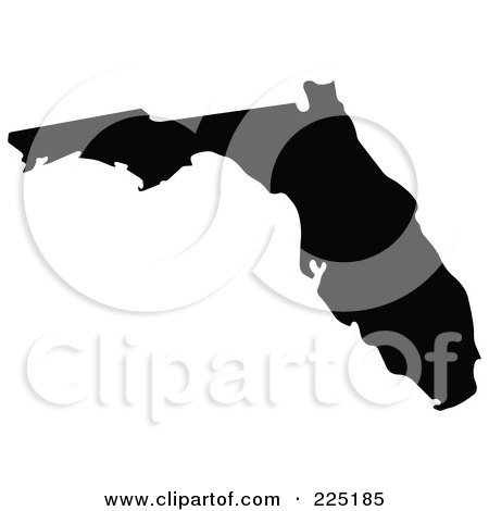 Royalty-Free (RF) Clipart Illustration of a Black Silhouette Of Florida, USA by JR