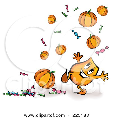 Royalty-Free (RF) Clipart Illustration of a Blinky Cartoon Character With Floating Halloween Pumpkins And Candy by MilsiArt