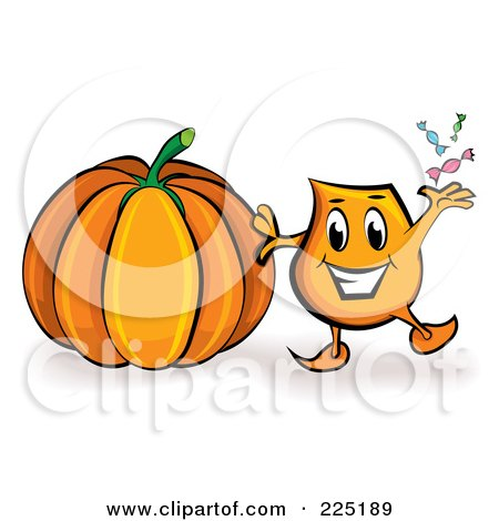 Royalty-Free (RF) Clipart Illustration of a Blinky Cartoon Character A Halloween Pumpkin by MilsiArt