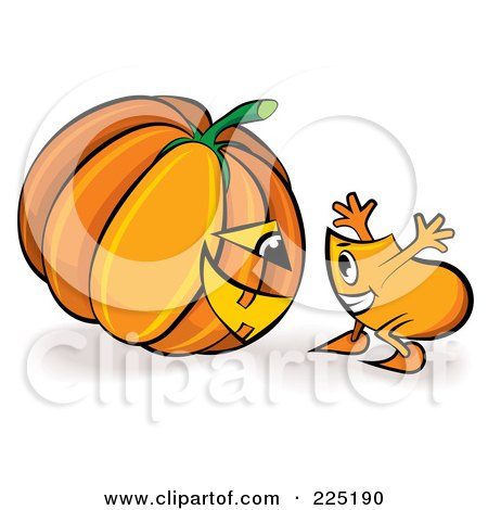 Royalty-Free (RF) Clipart Illustration of a Blinky Cartoon Character Looking At A Halloween Jackolantern by MilsiArt