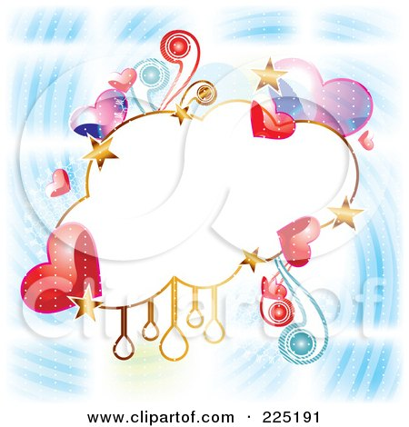 Royalty-Free (RF) Clipart Illustration of a Cloud Frame Of Hearts, Stars An Drops On A Blue Swirl by MilsiArt