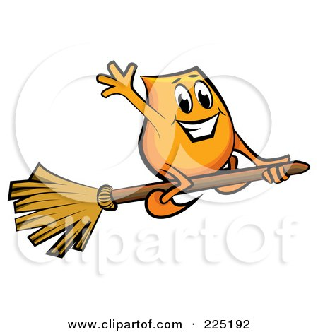 Royalty-Free (RF) Clipart Illustration of a Blinky Cartoon Character Flying On A Broomstick by MilsiArt