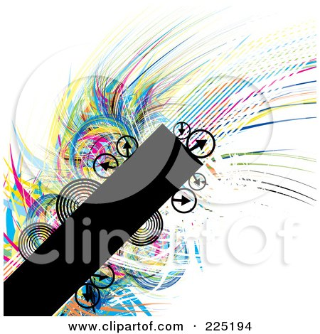 Royalty-Free (RF) Clipart Illustration of a Background Of A Black Bar With Wisps Of Color And Arrows On White by MilsiArt