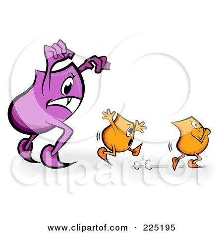 Royalty-Free (RF) Clipart Illustration of a Purple Blinky Monster Chasing Tiny Orange Blinkies by MilsiArt