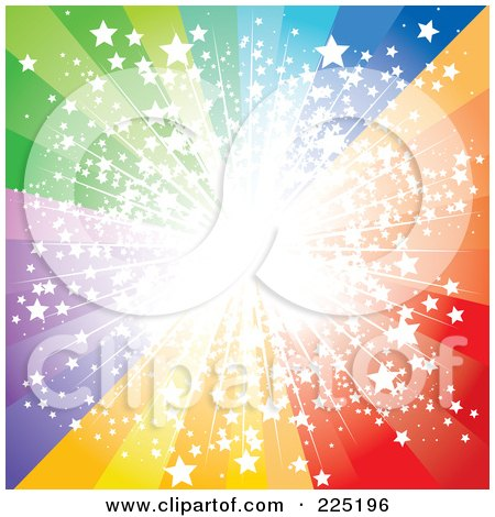 Royalty-Free (RF) Clipart Illustration of a Spectrum Burst With Bright Light And Stars by MilsiArt