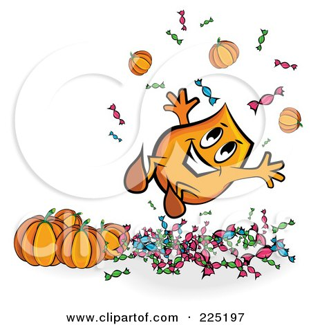 Royalty-Free (RF) Clipart Illustration of a Happy Halloween Blinky With Halloween Pumpkins And Candy by MilsiArt