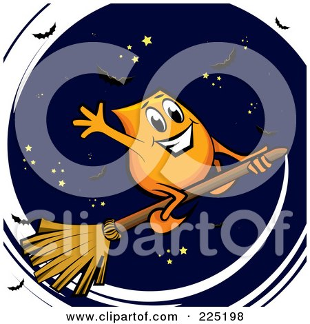 Royalty-Free (RF) Clipart Illustration of an Orange Blinky Waving And Flying On A Broomstick Against A Sky by MilsiArt