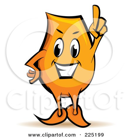 Royalty-Free (RF) Clipart Illustration of an Orange Blinky Cartoon Character With An Idea by MilsiArt
