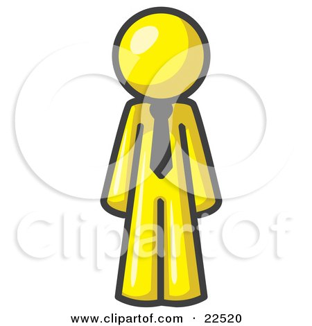 Clipart Illustration of a Yellow Business Man Wearing a Tie, Standing With His Arms at His Side by Leo Blanchette