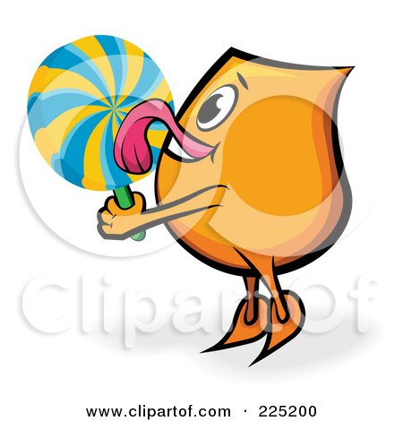 Royalty-Free (RF) Clipart Illustration of an Orange Blinky Cartoon Character Licking A Lolipop by MilsiArt