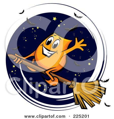 Royalty-Free (RF) Clipart Illustration of an Orange Blinky Flying On A Broomstick In The Night Sky by MilsiArt