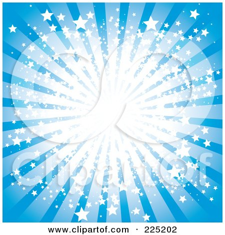 Royalty-Free (RF) Clipart Illustration of a Blue Ray Burst With Bright Stars And Light by MilsiArt
