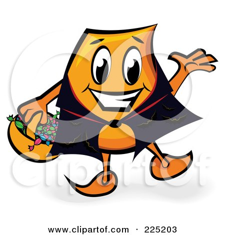 Royalty-Free (RF) Clipart Illustration of a Halloween Blinky Cartoon Character Wearing A Cape And Trick Or Treating by MilsiArt
