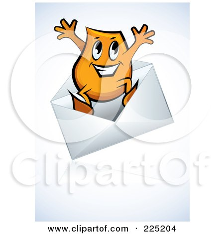Royalty-Free (RF) Clipart Illustration of a Blinky Cartoon Character Jumping Out Of An Envelope by MilsiArt