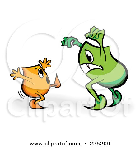 Royalty-Free (RF) Clipart Illustration of a Reen Blinky Monster Scaring An Orange Blinky by MilsiArt