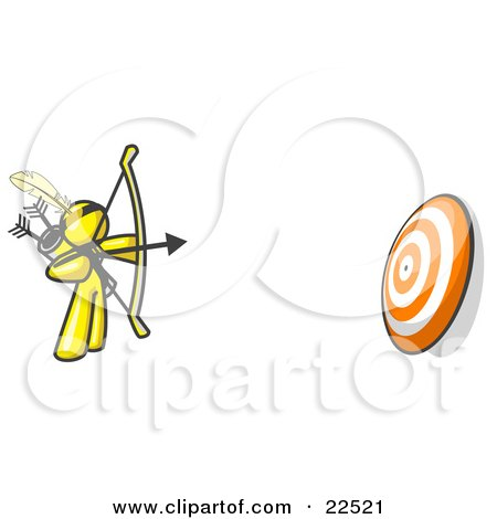 Clipart Illustration of a Yellow Man Aiming a Bow and Arrow at a Target During Archery Practice by Leo Blanchette