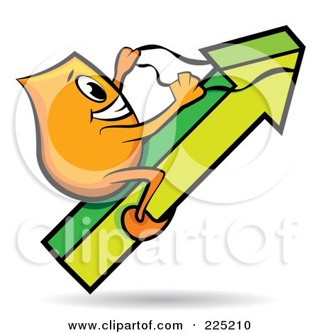 Royalty-Free (RF) Clipart Illustration of an Orange Blinky Cartoon Character Riding An Increase Arrow by MilsiArt